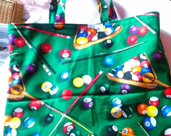 Fun pool table print shopper a man could happily use.....lined