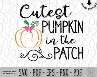 Cutest Pumpkin in the patch SVG, Halloween SVG, Girl SVG, Halloween girl svg, pumpkin svg, halloween cutting files, svg files, svg