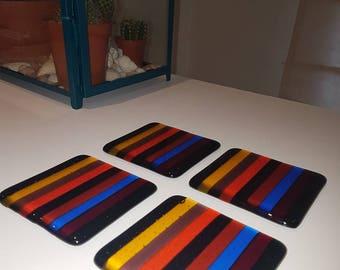 Set of 4 Handmade Fused Glass Coasters - Striped Rainbow
