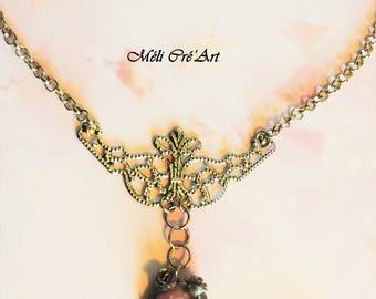 Pink quartz stone silver filigree necklace