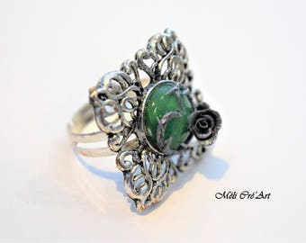 Cabochon green jade stone silver butterfly Ring