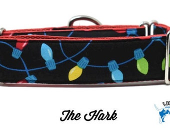 Holiday Christmas Lights Dog Collar, Martingale collar, Martingale Buckle, Metal Buckle Dog Collar, Cat Collar, The Hark Custom Collar