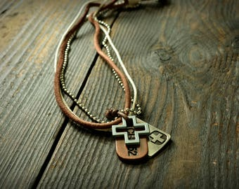 Cross Necklace, Men Leather Necklace, Cross Penden, Male Leather Jewelry, Genuine Leather Necklace