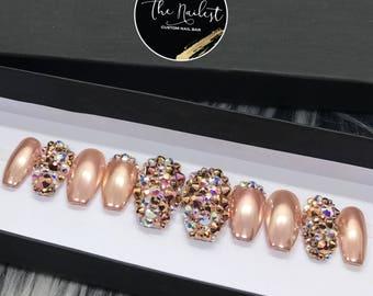 Rose Gold Mine Chrome Swarovski Crystal Nail | Press On Nails | Any Shape | Fake Nails | False Nails | Glue On Nails | Bridal Nails