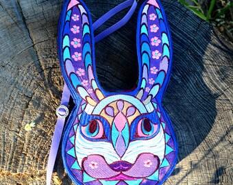 Embroidered blue rabbit shaped fantasy teenager handbag, purse