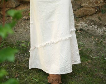 Frayed Cotton Skirt Long