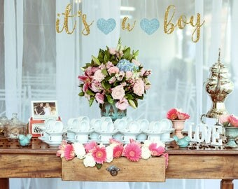 Boy baby shower decorations, boy, it's a boy banner, baby boy shower, gold and blue baby shower, baby shower for boys, gold banner,reveal