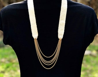 Handwoven Silk Necklace+Chain in IVORY | Necklace | Fiber Jewelry | Woven Necklace
