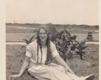 Vintage Photo Pretty Girl with Long Hair Posing in Grass Antique Black & White Found Photo Fashion Hair Style Paper Art Ephemera Snapshot