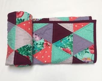 Modern Triangle Baby Quilt, blanket