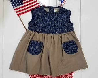 Country 4th patriotic 3-6 month baby girl dress or jumper and bloomers