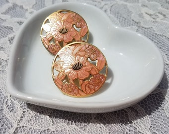 Peach Lily Flower Cloisonne Two Tone Cut Out Round Disc Earrings- Gold Tone- 1980s
