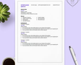 purple modern resumecv template for ms word creative resume design 2 page - Resume References