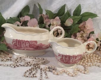 "Transferware, Gravy Boat and Creamer, Taylor Smith, Taylor USA, China ""Pink Castle"" Pattern"