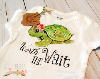Worth the Wait Onesie®, Boho Onesie, Sea Turtle Shirt, Boho Baby Clothes, Girl Onesie, Baby Gift, Shower Gift, Toddler Shirt, Bee & Bubba