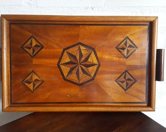 Wood tray 1930s marquetry