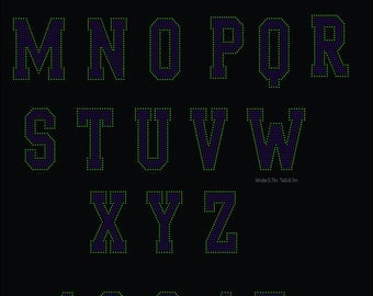 2 Color College Sport letters Alphabet and Digits digital download, svg, eps, png, dxf rhinestone template