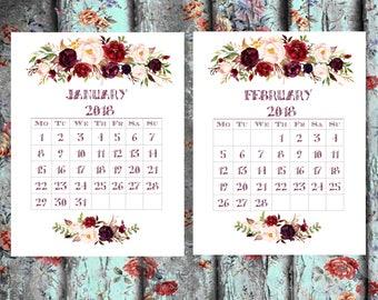 Printable Calendar 2018 a5 calendat insert Floral Calendar Printable A4 UsLetter Calendar Printable Wall Calendar Flower Instant Download