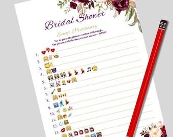 Wedding emoji pictionary Bridal emoji pictionary Pictionary games Bridal pictionary Emoji bridal game Shower pictionary Bridal emoji game