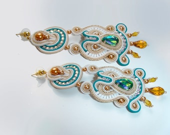 Soutache, Soutache earrings, long earrings, elegant earrings,green , gold, Elegant