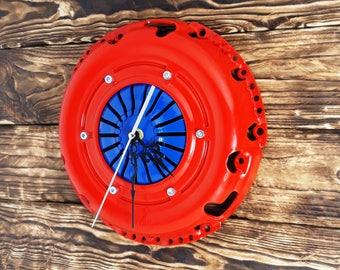 Steampunk clock Industrial clock Clock auto parts Metal wall clock Handmade wall clock Modern clock Gift for him Birhday gift Home cloc
