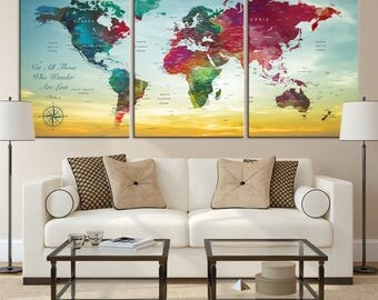 Large Wall Art World Map Canvas Print,  Watercolor World Map Travel Canvas Print, World Map Push Pin Travel Map, World Map Wall Art Canvas