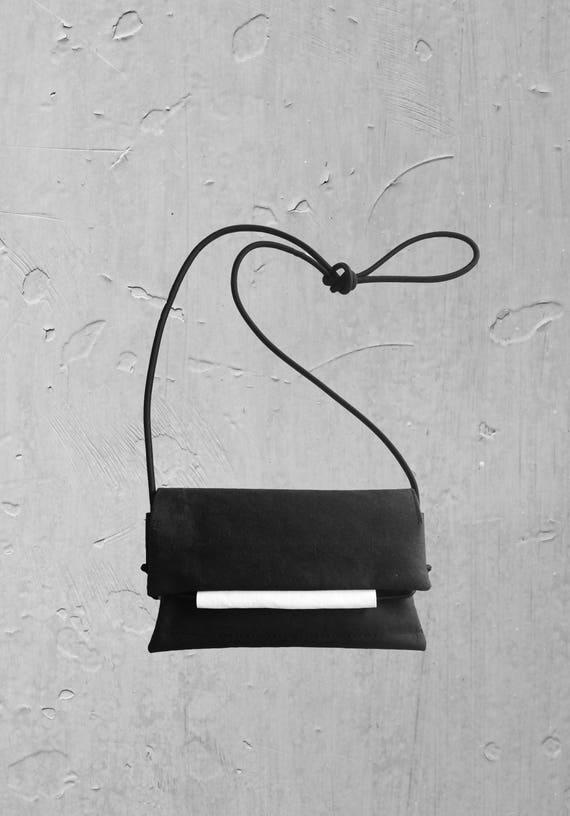 Small black Handbag with white from JACRON evenigbag clutch Crossover Bag