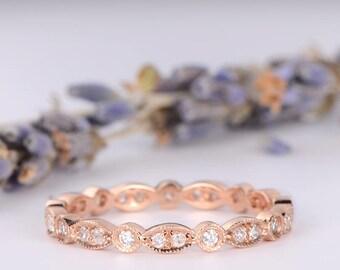 Eternity Wedding Band Women Rose Gold Diamond Stacking Ring Art Deco Antique Bridal Ring Anniversary Promise Gift for Her Milgrain Dainty