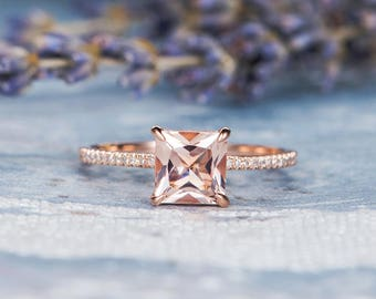Princess Cut Morganite Ring Rose Gold Engagement Ring Unique Diamond Halo Half Eternity Ring Anniversary Promise Gift Multistone Women Ring