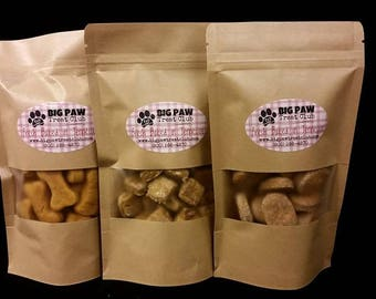 SAMPLER PACK Dog Treats, Choose 3 Flavors! FREE Shipping, Gourmet, Homemade Dog Treats, Dog Biscuits, Dog Lover Gift, Healthy Ingredients