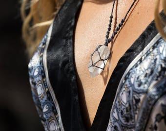 Crystal Macrame Necklace - Clear Quartz Point