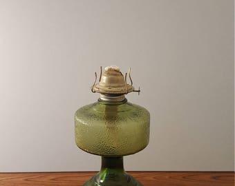 Eagle Green Glass Kerosene / Hurricane lamp (c. 1950's)
