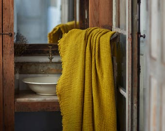 Mustard WAFFLE LINEN BLANKET coverlet with fringes