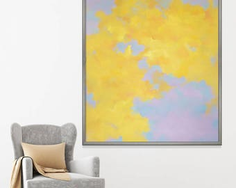 Rapture: Original abstract painting on canvas, sky, clouds, large painting 48x60, modern art, wall decor, oil painting