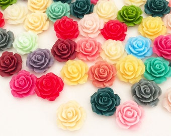 19mm Rose Cabochons - Rainbow Colors (12 pcs by Random) Kawaii Floral Deco Resin Cabochons