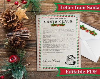 Letter from santa etsy rustic letter from santa kit with envelope template personalized letter from santa instant download spiritdancerdesigns Image collections