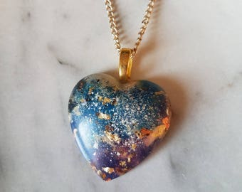 Snow & Space Dust Heart Necklace