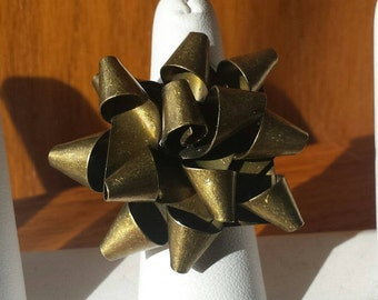 1970's Retro Brass Bow Ring Adjustable