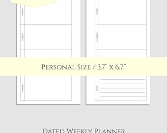 "2017 Dated Weekly Printable Planner Inserts, Horizontal WO2P Layout, w/ Notes Section ~ Personal / 3.7"" x 6.7"" Instant Download (WBN)"