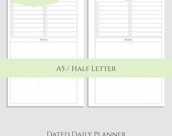 "2017 Dated Daily Printable Planner Inserts, DO1P w/ To Do List and Dot Grid Notes Section ~ A5 / 5.5"" x 8.5"" Instant Download (DV4)"