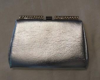 Silver and Rhinestone Evening Bag