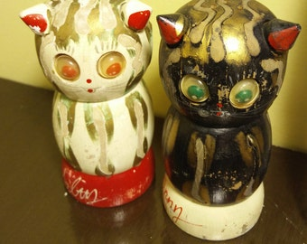Made in Japan Wooden Googly Eyed Cat Shakers