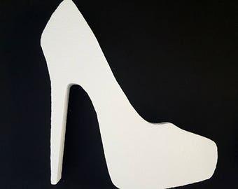 Styrofoam High Heel Shoe Cut Out,centerpiece,shopping,shoes,heels,styrofoam shapes,shoe cut outs,styrofoam,stiletto heel cut out