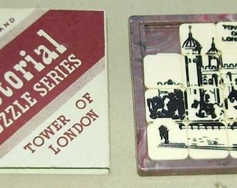 1950's Fairylite Plastic tile slide puzzle Tower of London