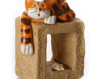 Ginger Cat | Natural Cube | Little Mouse | Cat Lovers | Quirky Gift