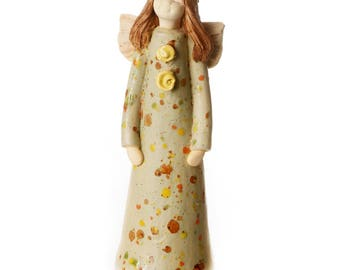Guardian Angel of Harmony in a Taupe Dress | Hand Made Ceramic Ornament | Quirky & Thoughtful Gift