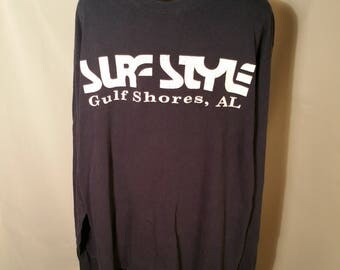 80s Dark Blue Navy Surfstyle Surf Style Long Sleeve Tee Sz Large Logo Spellout 1980s Retro Surfer Beach Alabama AL Coast Gulf Streetwear
