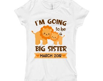 I'm going to be a Big Sister Shirt - Pregnancy Baby Announcement - Lion Big Sister - Promoted to big Sister - Big Sister to Be for Girls