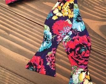 Bright Floral Bow Tie - Self Tie Bow Tie