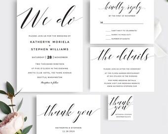 Printable Wedding Invitation Template. We Do Wedding Invitation Set. Printable Wedding Invitation Set, Calligraphy Wedding Invitations Set